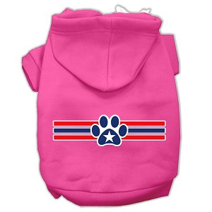 Patriotic Star Paw Screen Print Pet Hoodies Bright Pink Size S (10)