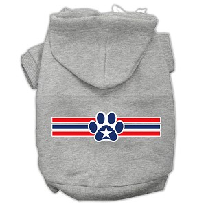 Patriotic Star Paw Screen Print Pet Hoodies Grey L (14)