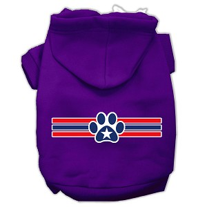 Patriotic Star Paw Screen Print Pet Hoodies Purple Size S (10)