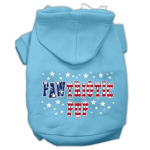 Pawtriotic Pup Screen Print Pet Hoodies Baby Blue XXL (18)