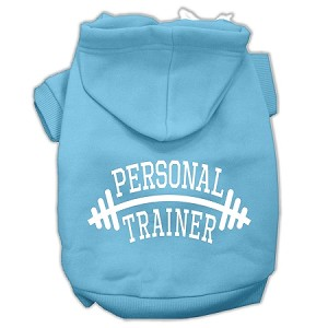 Personal Trainer Screen Print Pet Hoodies Baby Blue Size Med (12)