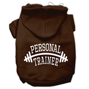 Personal Trainer Screen Print Pet Hoodies Brown Size XS (8)