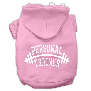 Personal Trainer Screen Print Pet Hoodies Light Pink Size Lg (14)