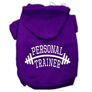 Personal Trainer Screen Print Pet Hoodies Purple Size Med (12)