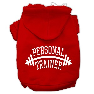 Personal Trainer Screen Print Pet Hoodies Red Size Med (12)