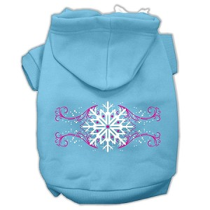 Pink Snowflake Swirls Screenprint Pet Hoodies Baby Blue Size S