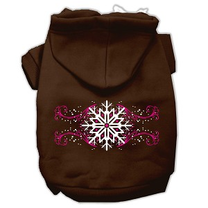 Pink Snowflake Swirls Screenprint Pet Hoodies Brown Size S (10)