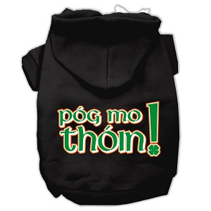 Pog Mo Thoin Screen Print Pet Hoodies Black Size XXXL