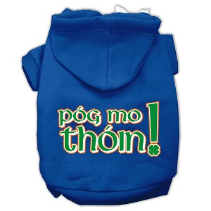 Pog Mo Thoin Screen Print Pet Hoodies Blue Size XXXL