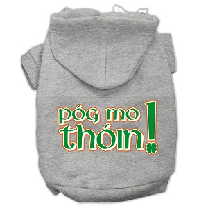 Pog Mo Thoin Screen Print Pet Hoodies Grey Size XXL
