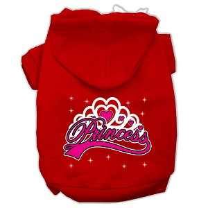 I'm a Princess Screen Print Pet Hoodies Red Size Sm (10)