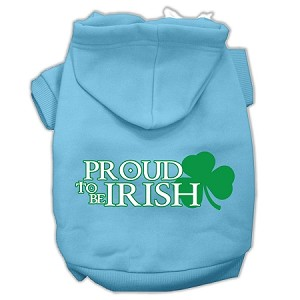 Proud to be Irish Screen Print Pet Hoodies Baby Blue Size XS (8)
