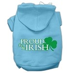 Proud to be Irish Screen Print Pet Hoodies Baby Blue Size Med