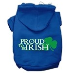 Proud to be Irish Screen Print Pet Hoodies Blue Size Med