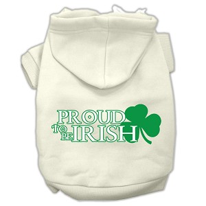 Proud to be Irish Screen Print Pet Hoodies Cream Size Sm (10)
