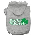 Proud to be Irish Screen Print Pet Hoodies Grey Size Med