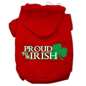 Proud to be Irish Screen Print Pet Hoodies Red Size Med (12)