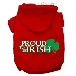 Proud to be Irish Screen Print Pet Hoodies Red Size Med