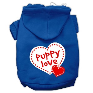 Puppy Love Screen Print Pet Hoodies Blue Size XL