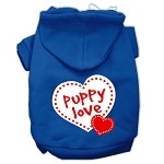 Puppy Love Screen Print Pet Hoodies Blue Size Med (12)