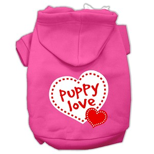 Puppy Love Screen Print Pet Hoodies Bright Pink Size Med