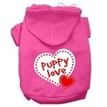 Puppy Love Screen Print Pet Hoodies Bright Pink Size XS (8)