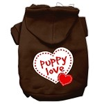 Puppy Love Screen Print Pet Hoodies Brown Size XS (8)