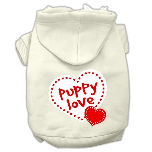 Puppy Love Screen Print Pet Hoodies Cream Size XS (8)
