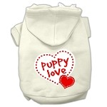 Puppy Love Screen Print Pet Hoodies Cream Size Med (12)