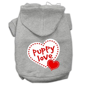 Puppy Love Screen Print Pet Hoodies Grey Size Sm (10)