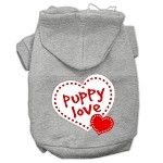 Puppy Love Screen Print Pet Hoodies Grey Size Med (12)