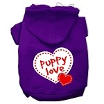 Puppy Love Screen Print Pet Hoodies Purple Size Med (12)