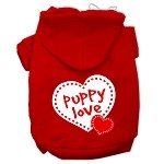 Puppy Love Screen Print Pet Hoodies Red Size XS (8)