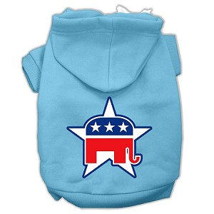 Republican Screen Print Pet Hoodies Baby Blue Size Lg (14)