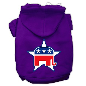 Republican Screen Print Pet Hoodies Purple Size Sm (10)