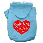 Ruff Love Screen Print Pet Hoodies Baby Blue Size Med (12)