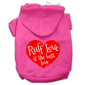 Ruff Love Screen Print Pet Hoodies Bright Pink Size XL (16)