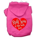 Ruff Love Screen Print Pet Hoodies Bright Pink Size Med (12)