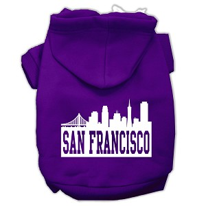 San Francisco Skyline Screen Print Pet Hoodies Purple Size XXXL (20)