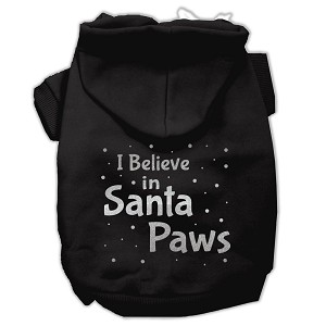 Screenprint Santa Paws Pet Hoodies Black Size Lg (14)
