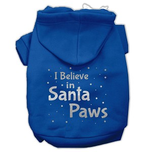 Screenprint Santa Paws Pet Hoodies Blue Size Med (12)