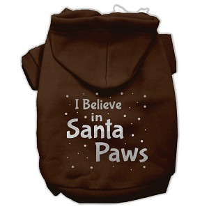Screenprint Santa Paws Pet Hoodies Brown Size Lg (14)