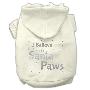 Screenprint Santa Paws Pet Hoodies Cream Size XS (8)