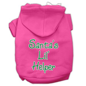 Santa's Lil' Helper Screen Print Pet Hoodies Bright Pink Size Med