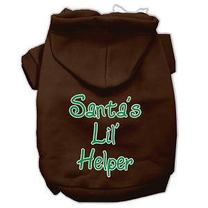 Santa's Lil' Helper Screen Print Pet Hoodies Brown Size XXL (18)