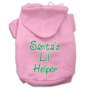 Santa's Lil' Helper Screen Print Pet Hoodies Light Pink Size Sm (10)