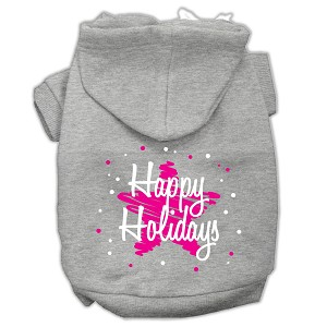 Scribble Happy Holidays Screenprint Pet Hoodies Grey Size L