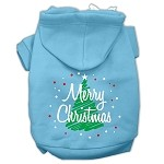 Scribbled Merry Christmas Screenprint Pet Hoodies Baby Blue Size XS