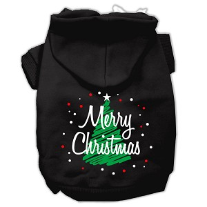 Scribbled Merry Christmas Screenprint Pet Hoodies Black Size S (10)