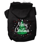 Scribbled Merry Christmas Screenprint Pet Hoodies Black Size XS